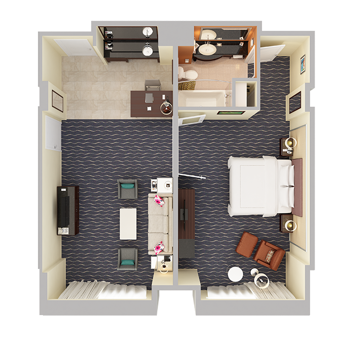 One Bedroom Suite - Top Down View
