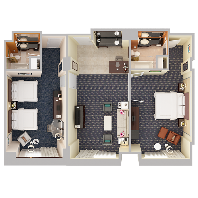 Two Bedroom Suite - Top Down View