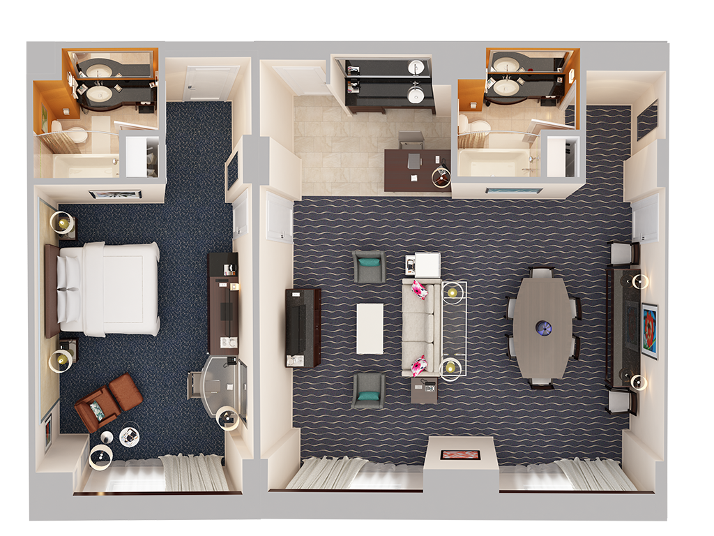 Single bedroom top view - Hospitality Suite One Bedroom 1 King Bed Top Down View