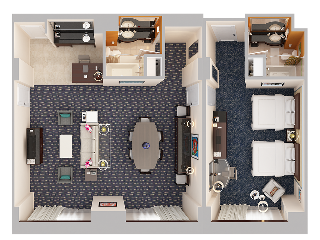 View 3D Floor Plans. Hilton Orlando   Hotel Suites