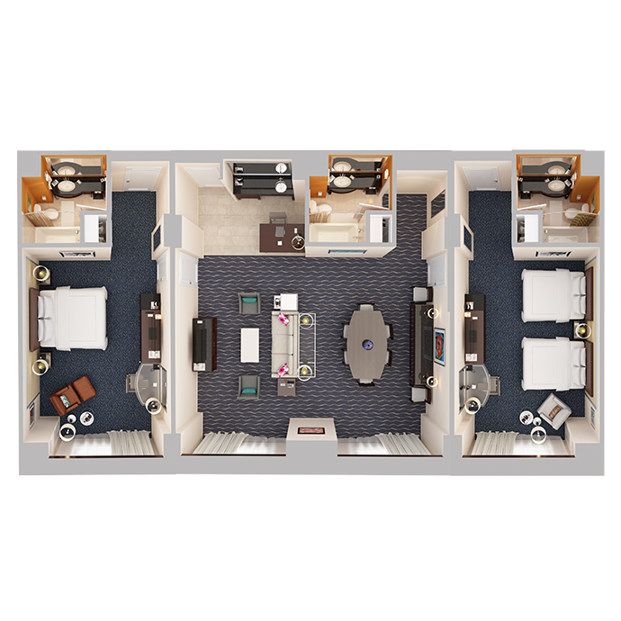 Hospitality Suite - Two Bedrooms - Top Down View