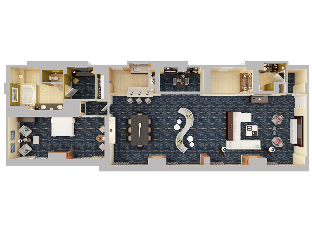Single bedroom top view - View 3d Floor Plans