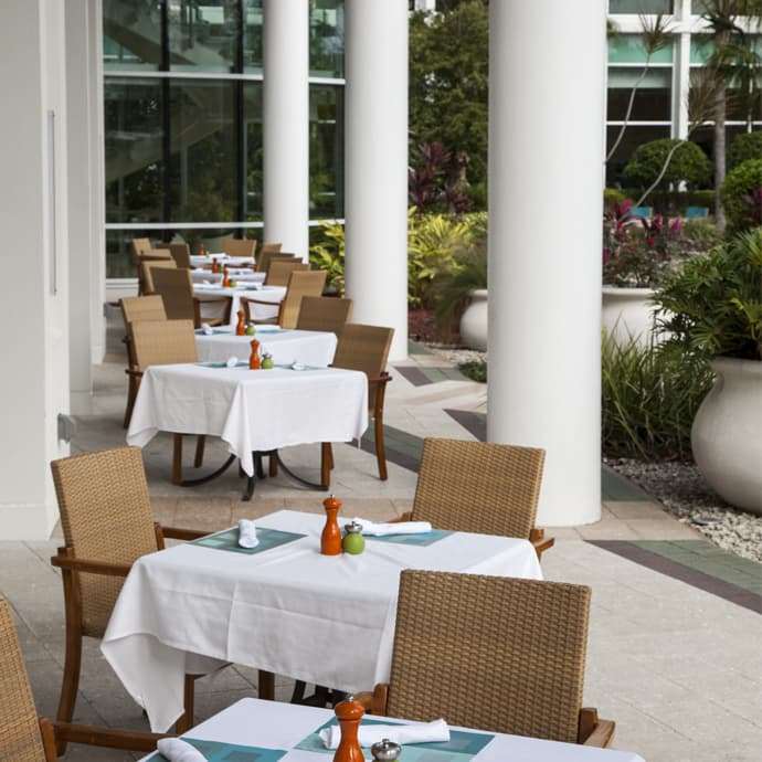 The Bistro offers outside covered patio seating for those wanting to enjoy the Florida sunshine
