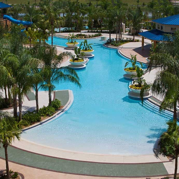 Main pool features zero entry and Tropics Pool Bar & Grill