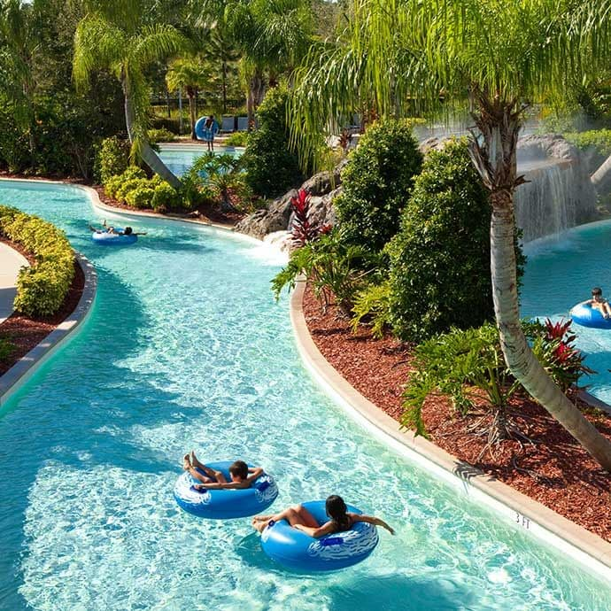 900 ft long winding lazy river with scenic views