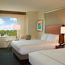 Our double queen guest rooms are family friendly, spacious and newly renovated with 55