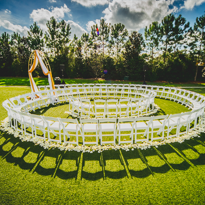 The 9,800 sq. ft manicured Grande Lawn can turn into any type of ceremony setup your heart desires